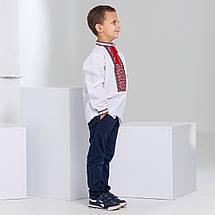 Детская вышиванка для мальчика с красным орнаментом, фото 3
