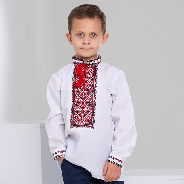 Детская вышиванка для мальчика с красным орнаментом