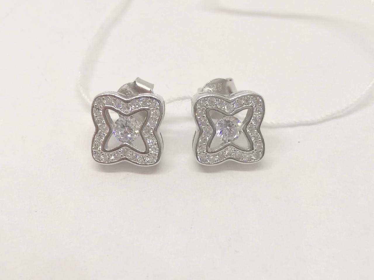 Серебряные пуссеты с фианитами. Артикул С2Ф/1058