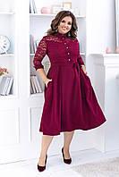 Женское платье под пояс с карманами и отделкой кружева 48-50, 52-54, 56-58