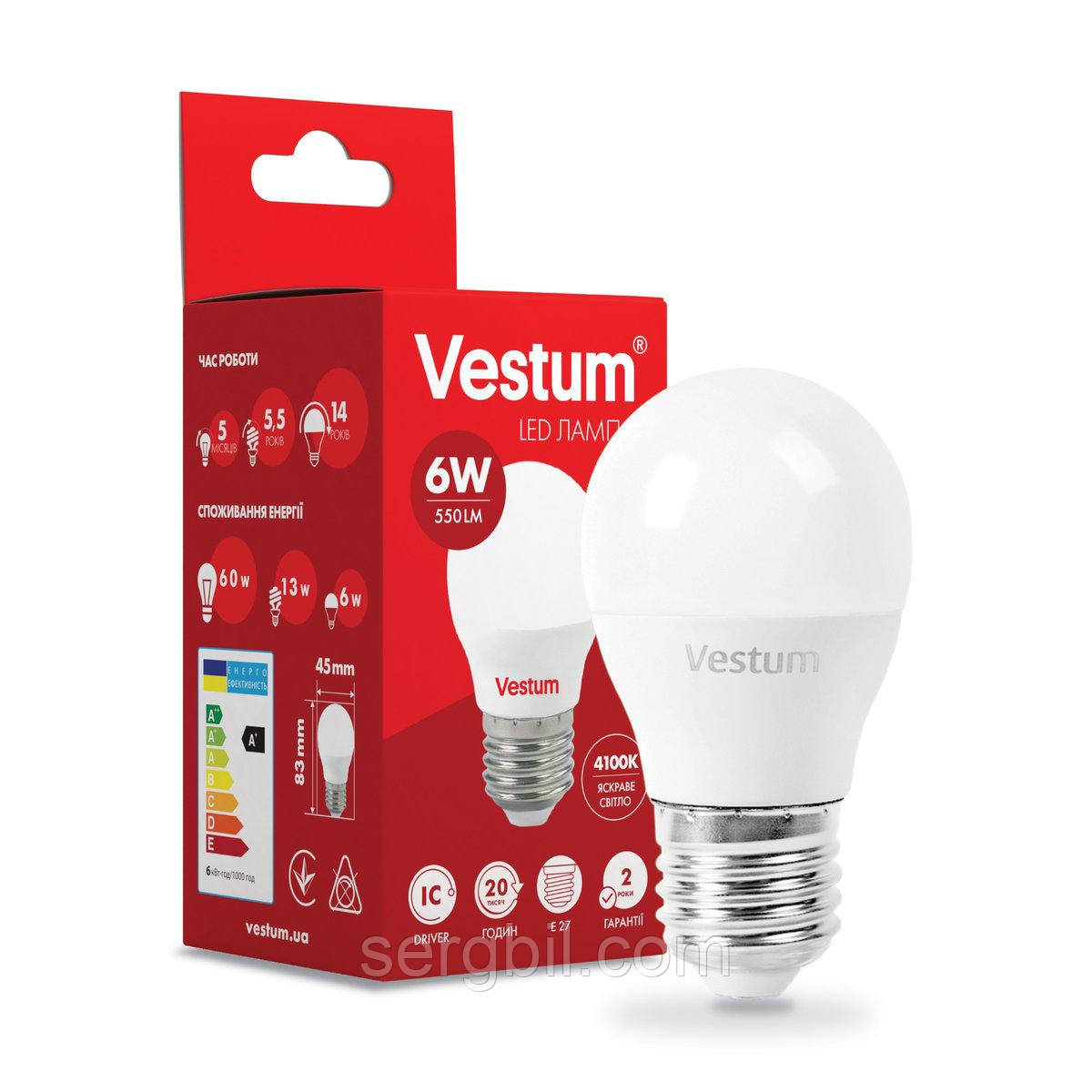 Светодиодная лампа Vestum G45 6W 4100K 220V E27 1-VS-1201