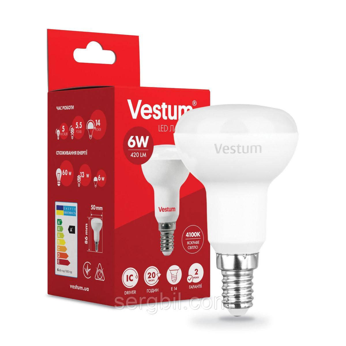 Светодиодная лампа Vestum R50 6W 4100K 220V E14 1-VS-1402