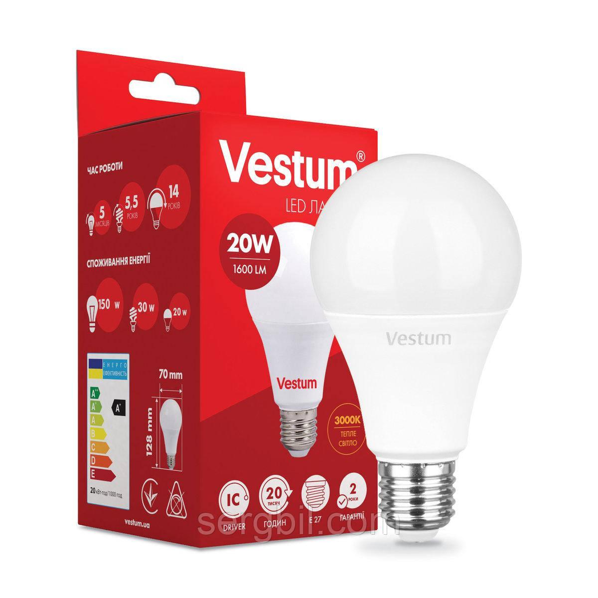 Светодиодная лампа Vestum A70 20W 3000K 220V E27 1-VS-1110