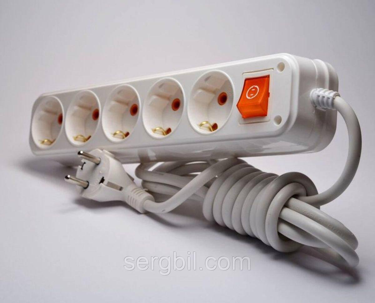 Удлинитель Profitec с заземлением и выключателем, 5 розеток, 5 метров