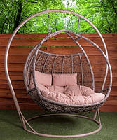 Двухместное подвесное кресло кокон из ротанга «Галант» на стойке
