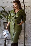 Женское платье большого размера из экокожи: 48-58 + цвета, фото 1
