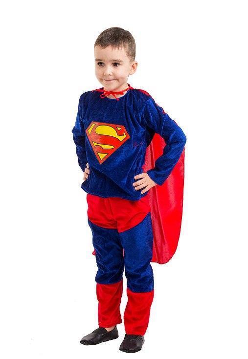 Детский карнавальный маскарадный костюм Супермен велюровый размер: 30, 32, 34