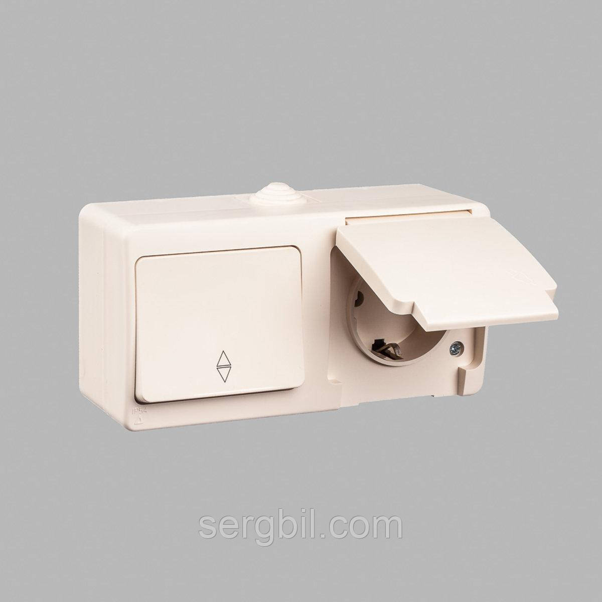 Блок выключатель одноклавишный проходной + розетка с заземлением GUNSAN Nemliyer влагозащищенный Кремовый