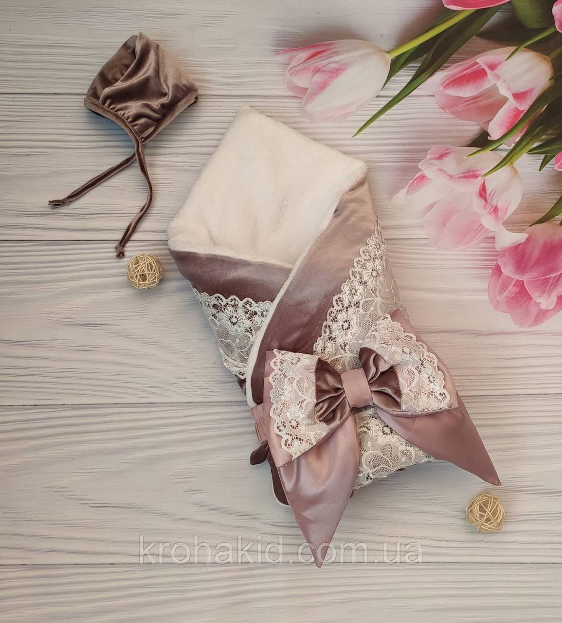 """Зимний велюровый конверт-одеяло на выписку """"Кружево"""", конверт на выписку со съемным синтепоном"""