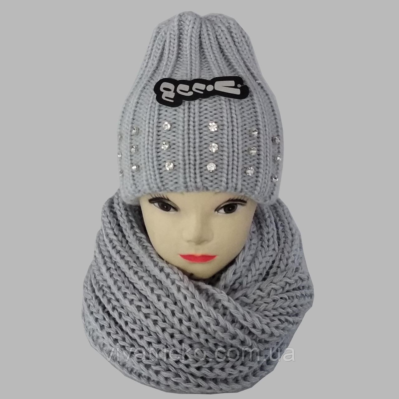 М 5057 Комплект женский шапка и шарф хомут  , разные цвета