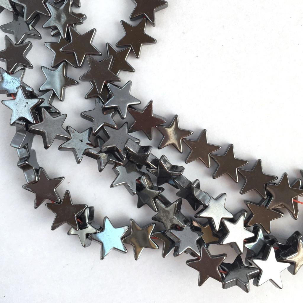 8 мм: Бусины звезды. Гематит (глянцевый). 1 шт.