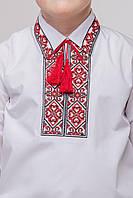 Рубашка детская «Стожары» с вышитой спинной кокеткой и отложным воротником.