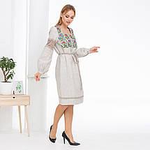 Бежевое платье c цветочной вышивкой Трембита, фото 3