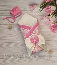 """Зимний велюровый конверт-одеяло на выписку """"Кружево"""", конверт на выписку со съемным синтепоном, фото 3"""