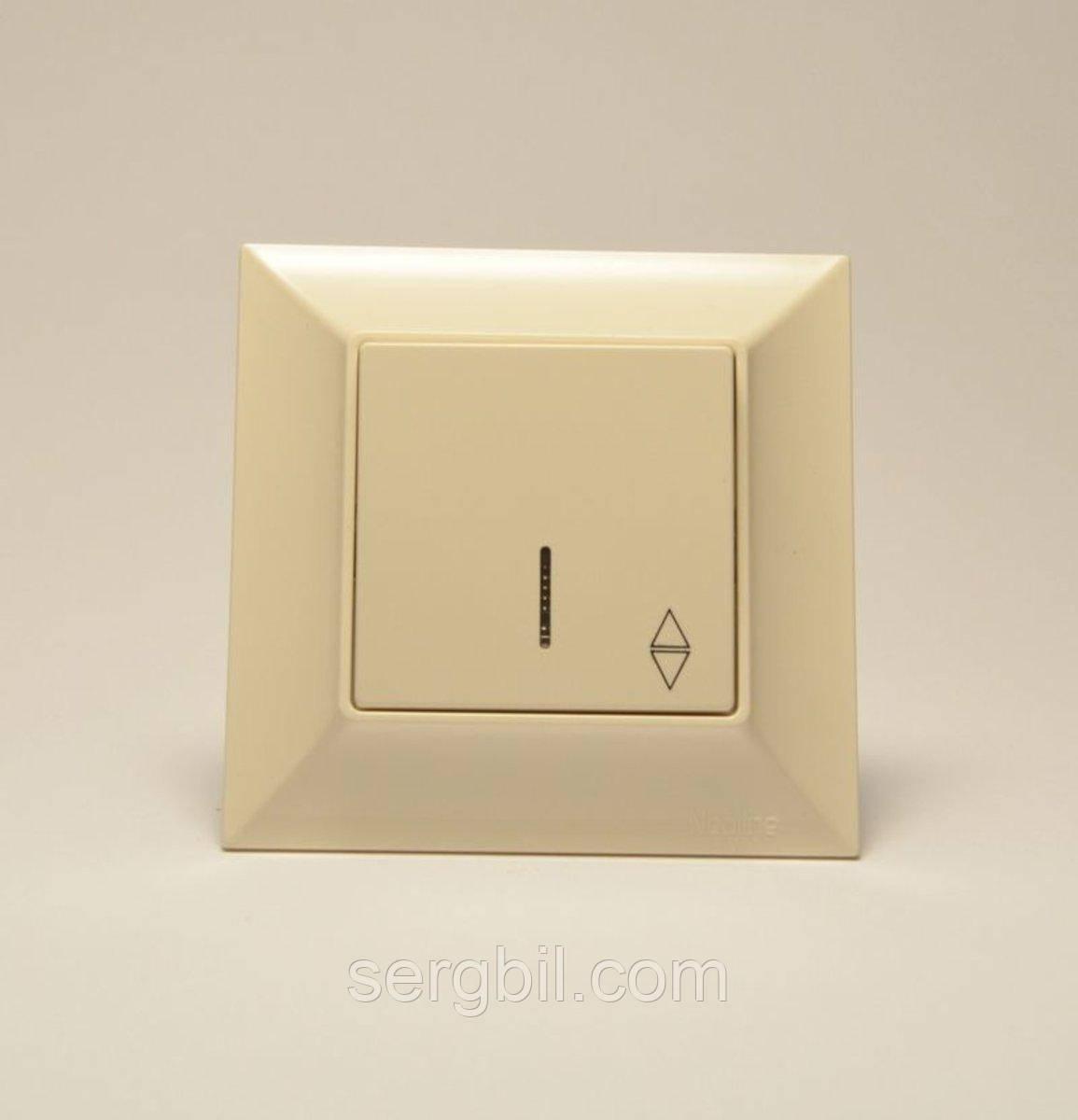 Переключатель одноклавишный  GUNSAN Neoline с подсветкой Кремовый
