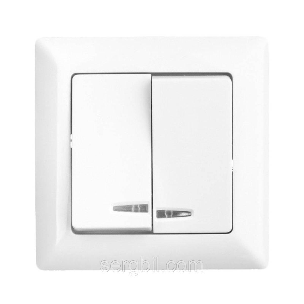 Выключатель с 2 клавишами с подсветкой Lectris Белый LCI005