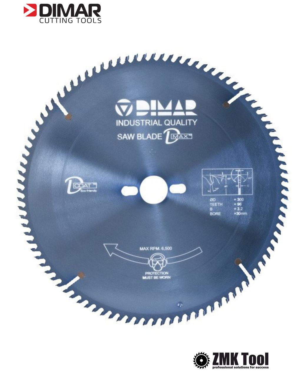 Пила DIMAR DFS ДСП, МДФ, ламінатів 300 96Z 3.2/2.2 d=30 з покриттям D-COAT