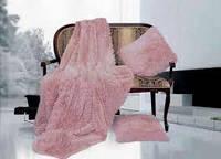 Покривало/плед (штучне хутро 2кг) 220*240 Довгий ворс (пудра)