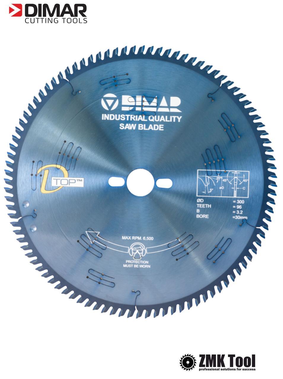 Пила DIMAR DFSQ D-TOP 300 96Z 3.2/2.2 d=30 для раскроя ДСП/МДФ 300х30х96 с покрытием D-COAT синего цвета