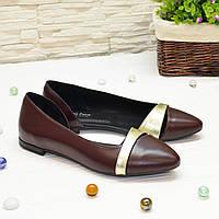 Кожаные женские туфли на низком ходу, цвет бордо и золото