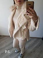 Искусственная светлая женская дубленка куртка , размер  М (42/46)