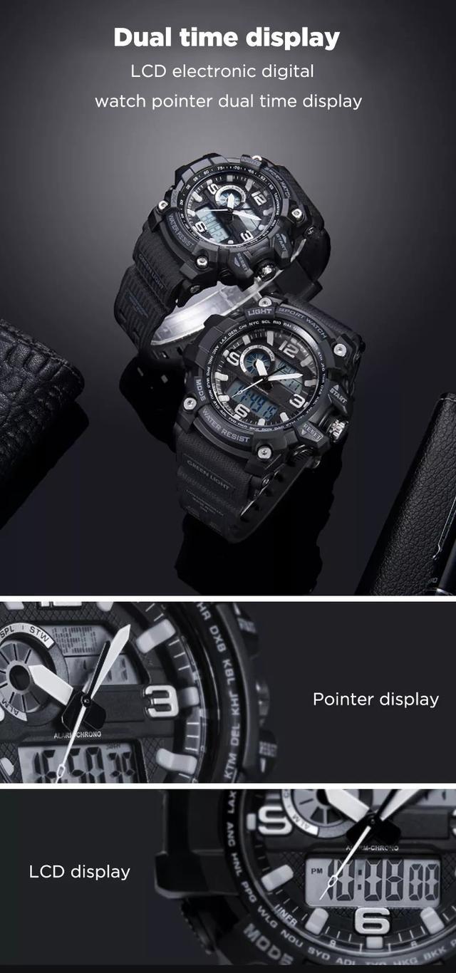 Спортивные 50ATM водонепроницаемые часы Xiaomi TwentySeventeen Lightweight Dual Display W008Q