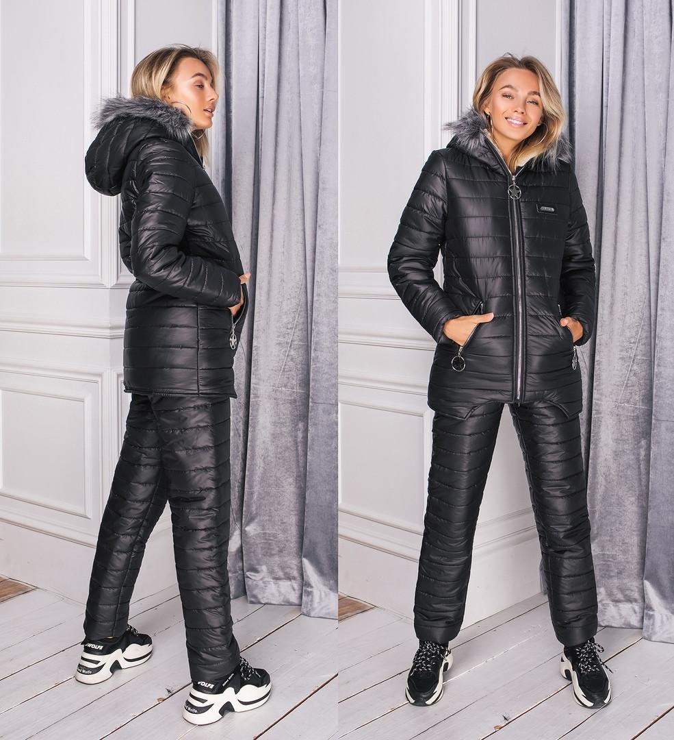 Лыжный костюм на овчине женский куртка+штаны теплый.