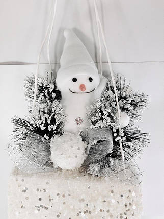 Новогодний декор Снеговик подвесной на платформе, 75 см, фото 2
