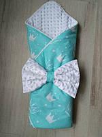 Конверт-одеяло для новорожденного Мятные короны, польский хлопок