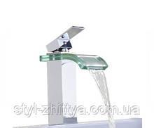 Скляний змішувач для умивальника / хром