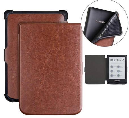 Чехол обложка PocketBook 616 627 632 Автосон Коричневый broun, фото 2