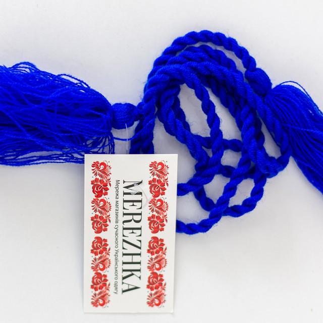 Пояс шнурок под вышиванку синий