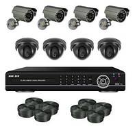 Супербюджетный 8-х камерный комплект видеонаблюдения 800 TVL (4 внутренних, 4 уличных камеры)