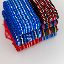 Тканный пояс крайка к вышиванке синий, фото 3