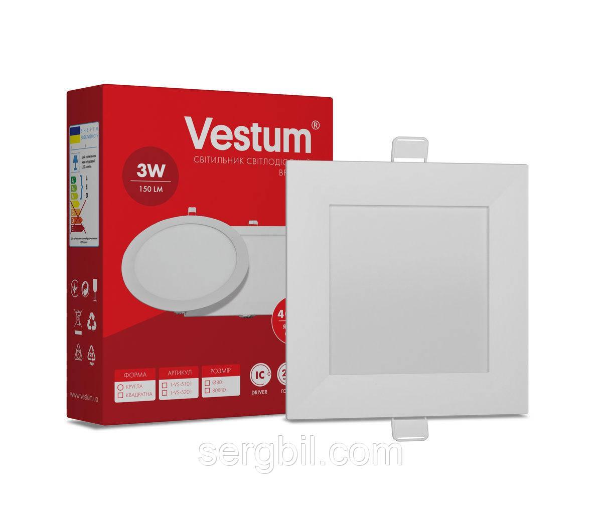 Квадратный светодиодный врезной светильник Vestum 3W 4000K 220V 1-VS-5201