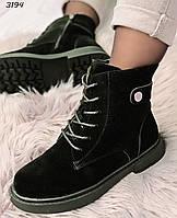 38 р. Ботинки женские зимние черные замшевые на низком ходу, из замши, замша