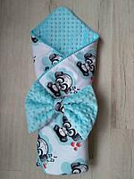 Конверт-одеяло для  мальчика  Веселая пандочка, польский хлопок, фото 1