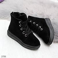 Высокие замшевые черные ботинки на шнуровке