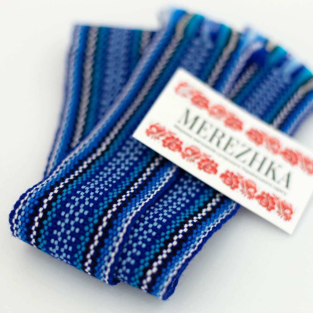 Крайки пояса для вышиванок синие
