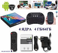 Мини компьютер смарт TV приставка Андроид 9, 4 ЯДРА 4ГБ/64ГБ