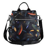 Сумка-рюкзак женская Traum Черный с принтом 13л (7224-60)