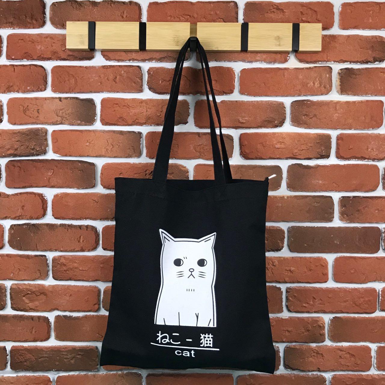 Тканевая сумка Шоппер City-A Cat Кот Черная