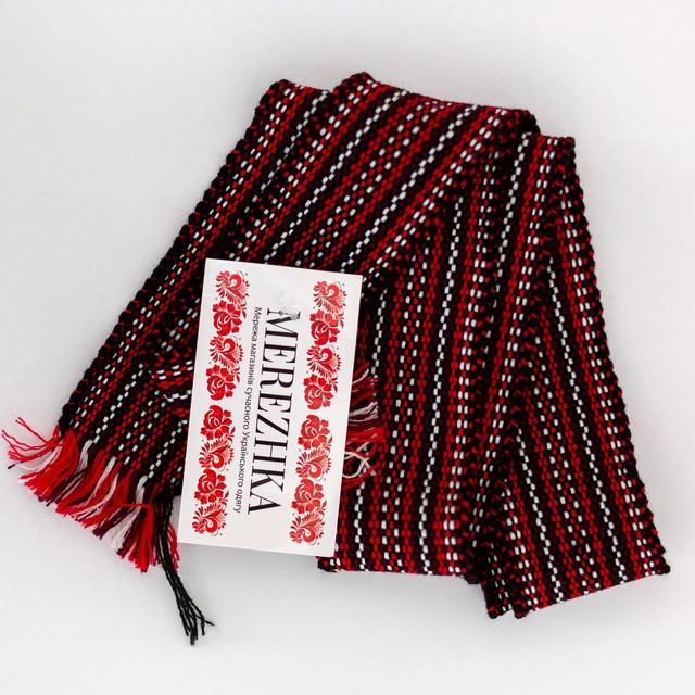 Тканный пояс крайка к вышиванке бордовый