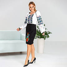 Черная женская юбка в украинском стиле Мальва 55 см, фото 3