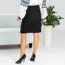 Черная женская юбка в украинском стиле Мальва 55 см, фото 2