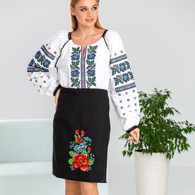 Черная женская юбка в украинском стиле Мальва
