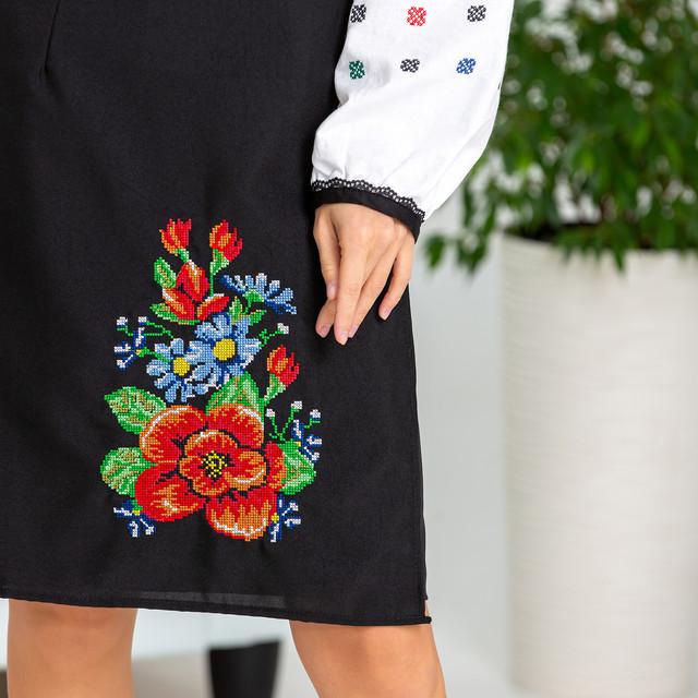 Черная женская юбка в украинском стиле Мальва 55 см