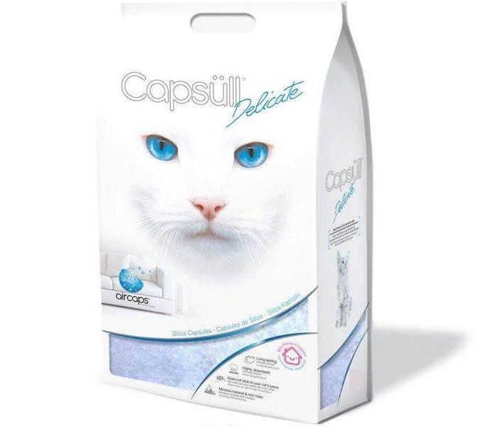 Кварцевый впитывающий наполнитель для туалетов кошек и котят Capsull Delicate baby powder 15 кг