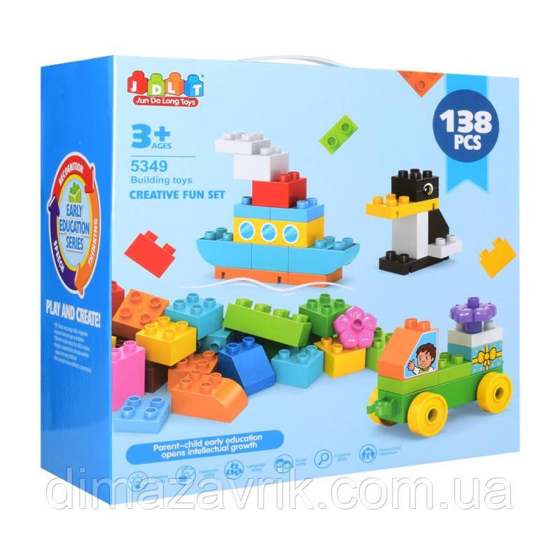 """Конструктор JDLT 5349 (Аналог Lego Duplo) """"Транспорт, животные""""138 деталей"""