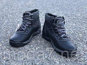 Ботинки зимние мужские черные Timberland нат. кожа реплика, фото 3